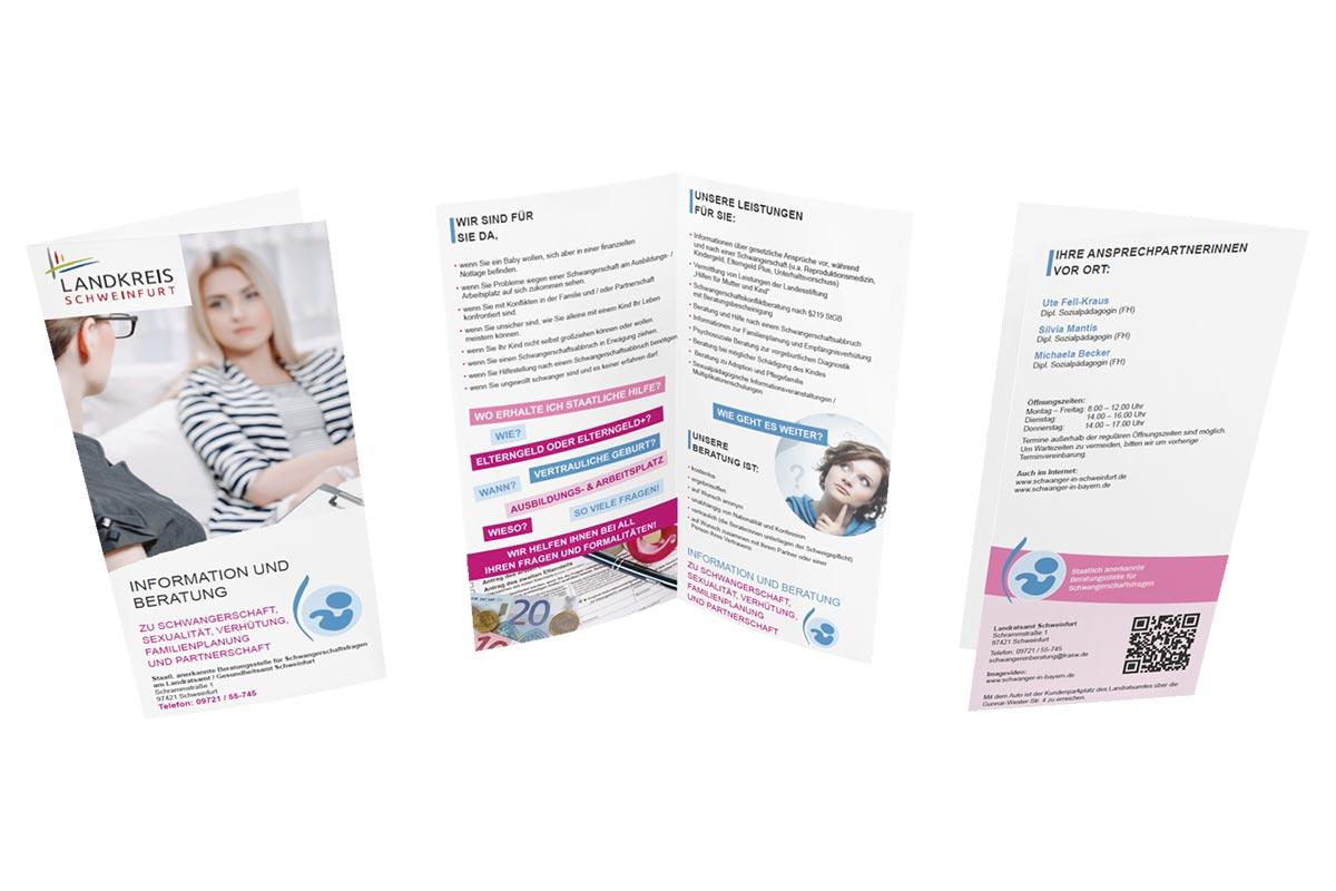 Schwangerschafts-Flyer für das Landratsamt Schweinfurt